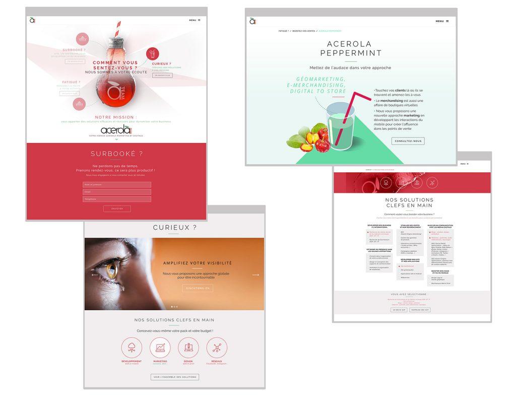 maquette du travail de webdesign du site acerola