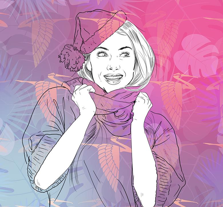 illustration de femme avec motif faune et flore
