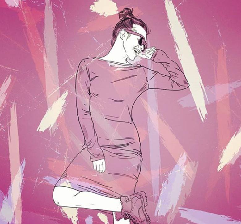 illustration de femme avec motif tache de couleur