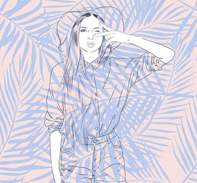 illustration de femme avec motif floral