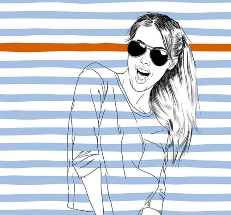 illustration de femme avec motif marin