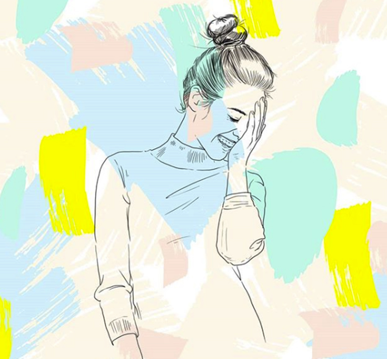 illustration de femme avec motif pastel