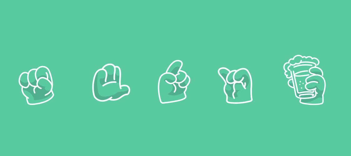 ligne d'emojis en forme de main