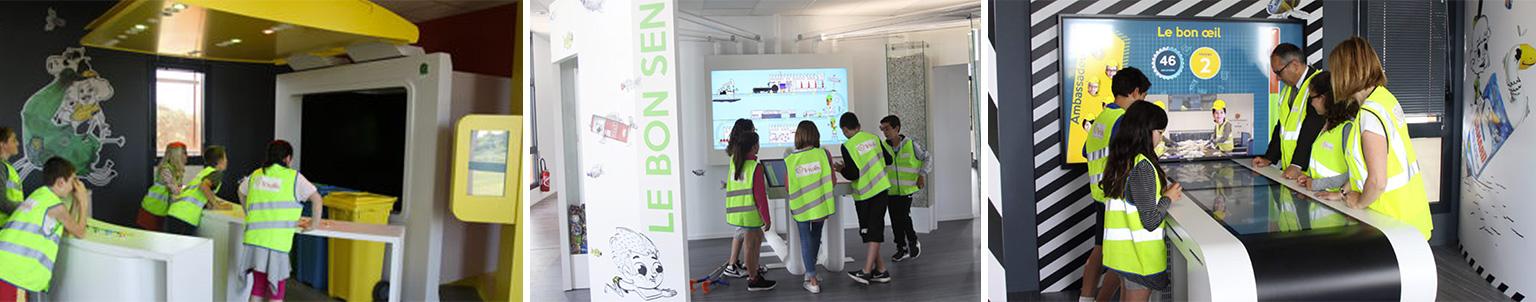 Enfants utilisant les installations