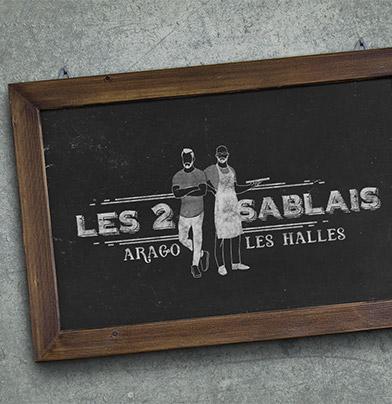 """ardoise avec logo """"les 2sablais"""""""